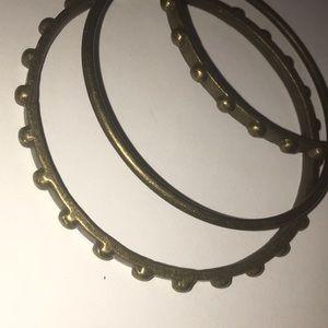 3 textured brass bracelets ❤️